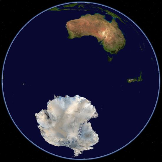 Antarktyda i Australia.