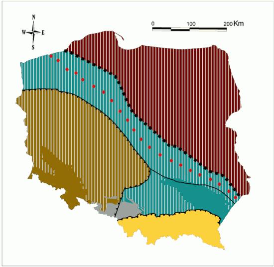 Podłoże Polski i strefa Teisseyre'a-Tornquista.
