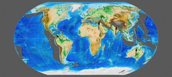 Miocen - lang - paleogeografia świata.