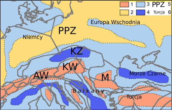 Późny eocen - paleogeografia.