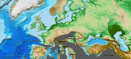 Paleocen - rekonstrukcja Europy.