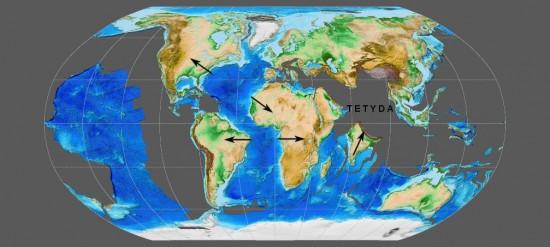 Świat w paleogenie (paleocen, 60 mln lat temu).