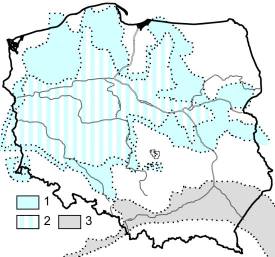 Paleogeografia Polski - miocen środkowy.