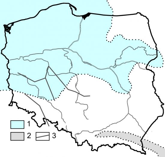 Paleogeografia Polski - późny oligocen.