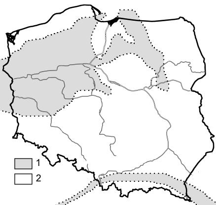 Paleogeografia Polski - przełom środkowego i późnego oligocenu.