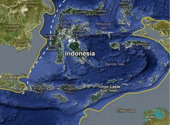 Linia Wallace'a na terenie Archipelagu Malajskiego.
