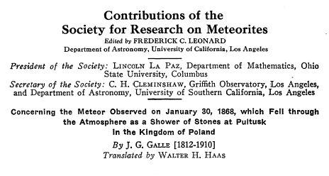 Publikacja o meteorycie Pułtusk.