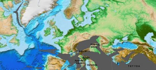 Europa, późna kreda, 90 mln lat temu. Ocean Tetyda sukcesywnie się zmniejszał, a mikrokontynenty budujące obecnie podłoże południowej części naszego kontynentu zbliżały się do Europy. Uwaga – na mapę nałożono współczesne ukształtowanie lądów, które ma jedynie znaczenie pomocnicze. Przeczytaj <a href='http://zywaplaneta.pl/rekonstrukcje-paleogeograficzne-gplates/'><p id=