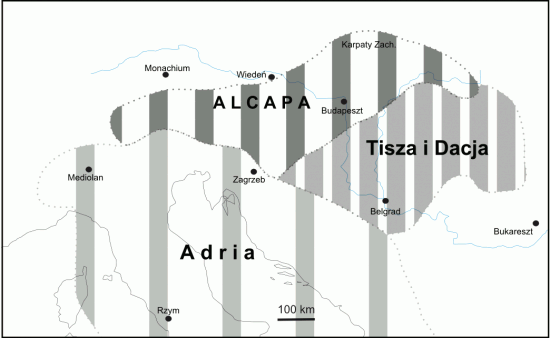 Główne fragmenty kontynentalne strefy alpejskiej: Alcapa, Tisza i Dacja oraz Adria (Apulia).