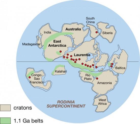 Rekonstrukcja superkontynentu Rodinia.