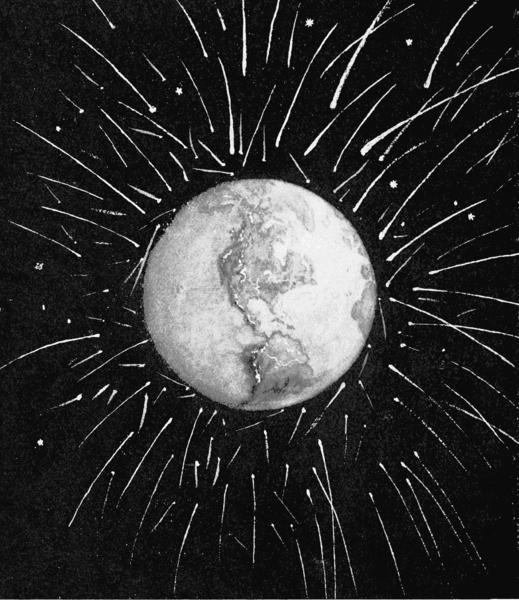 Ziemia bombardowana meteorytami - artystyczna wizja.