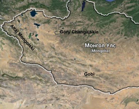 Góry Ałtaj, Changaj i pustynia Gobi na terenie Mongolii.