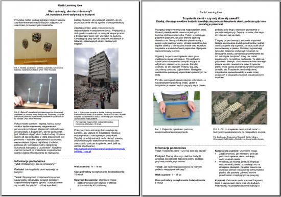 Przykładowe ćwiczenia Earth Learning Idea (ELI).