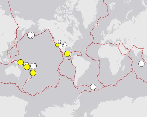 Mapa trzęsień ziemi.