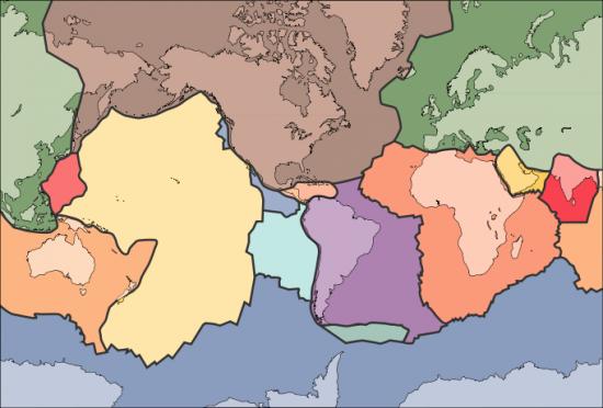 Granice kier litosfery na mapie świata.