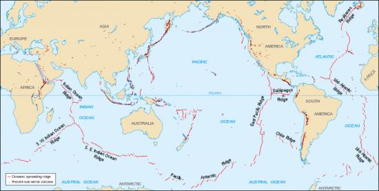 Grzbiety śródoceaniczne i wulkany na mapie świata.