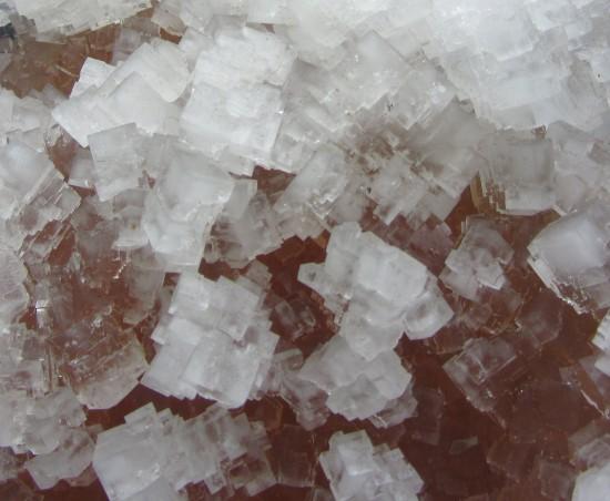 Kryształy soli kamiennej - minerału halitu.
