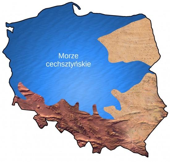 Zasięg morza cechsztyńskiego na terenie dzisiejszej Polski.