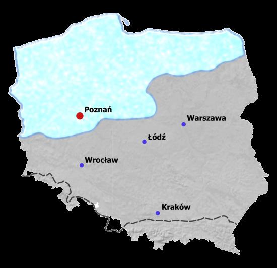 Mapa zasięgu zlodowaceń plejstoceńskich na terenie Polski.