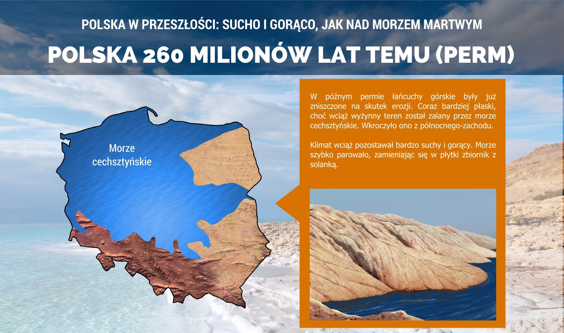 Polska w późnym permie - morze cechsztyńskie i złoża soli kamiennej - plakat.