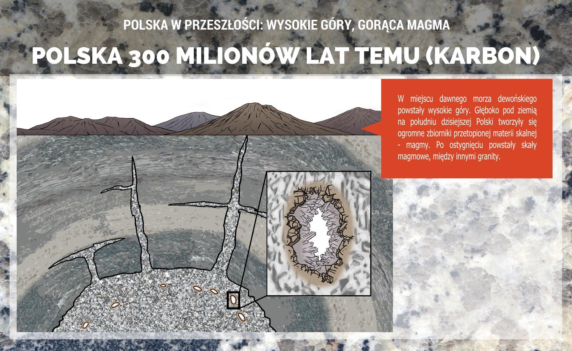 Polska w karbonie - powstawanie granitoidów Dolnego Śląska - plakat.