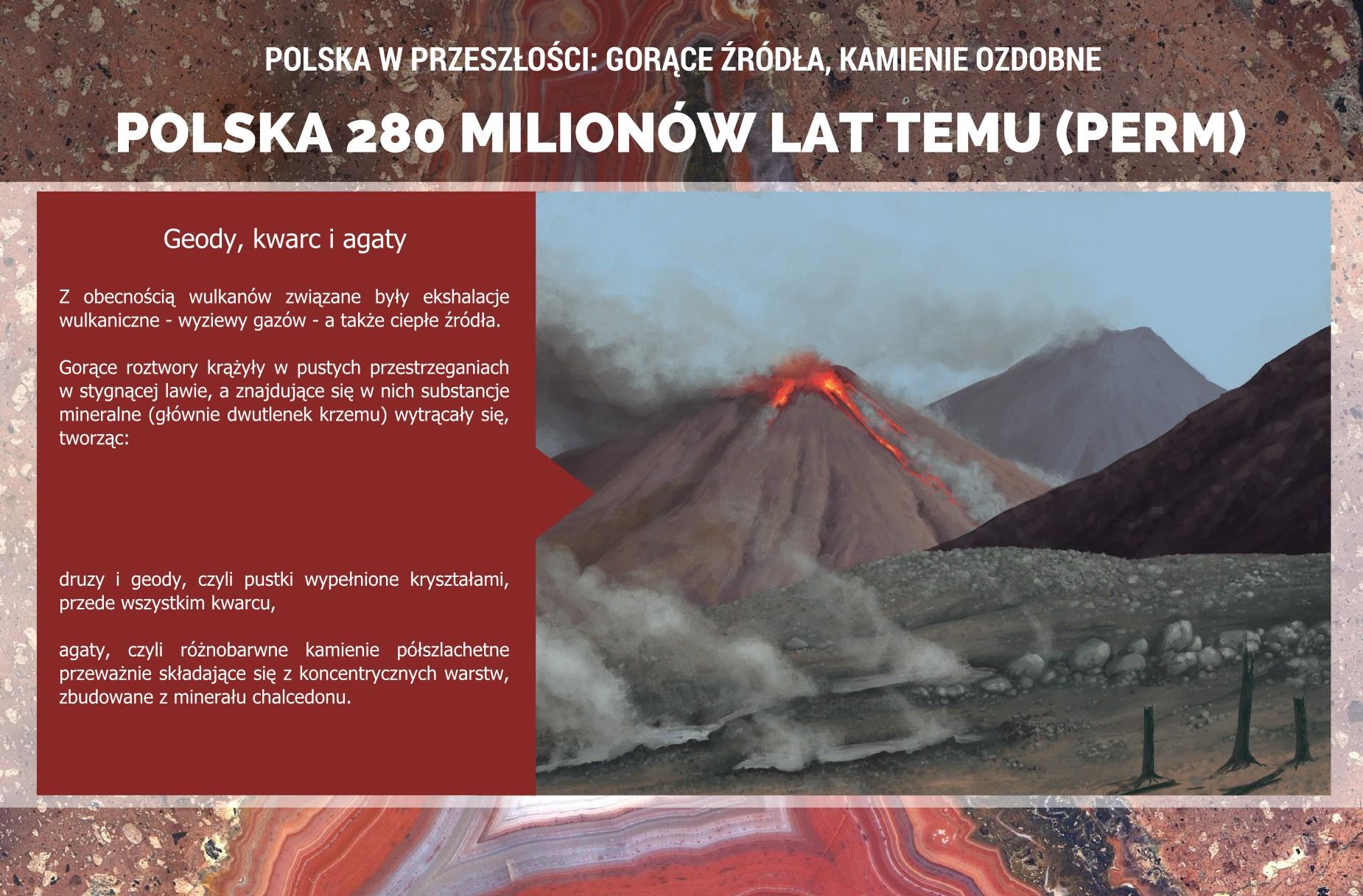 Polska w permie: wulkanizm i powstawanie agatów - plakat.