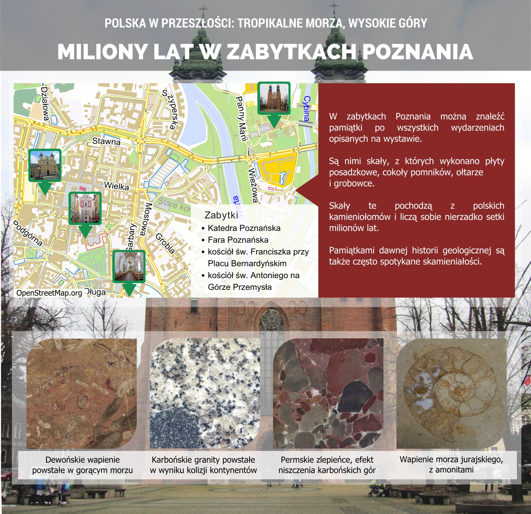 Ślady przeszłości geologicznej w zabytkach Poznania - plakat.