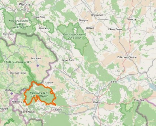 Park Narodowy Gór Stołowych na mapie Dolnego Śląska.