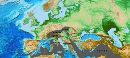 Oligocen - rekonstrukcja Europy.