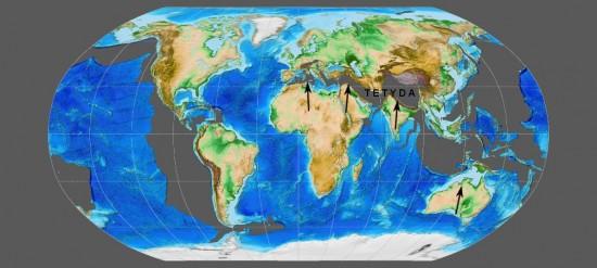 Oligocen - paleogeografia świata.