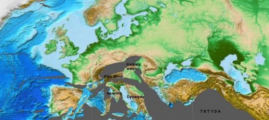 Eocen - rekonstrukcja Europy.