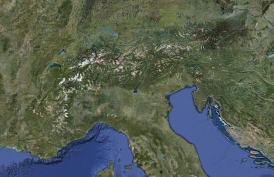 Alpy - zdjęcie satelitarne.