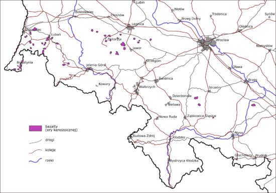 Bazalty ery kenozoicznej na terenie Sudetów.