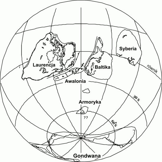 Późny ordowik - rekonstrukcja paleogeograficzna.