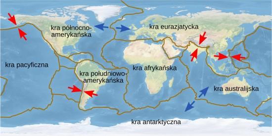 Mapa kier litosfery (płyt skorupy ziemskiej).