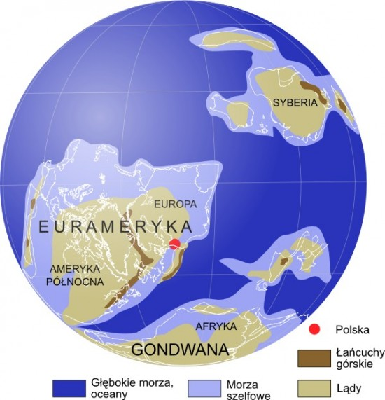 Mapa paleogeograficzna: dewon, 385 mln lat temu.