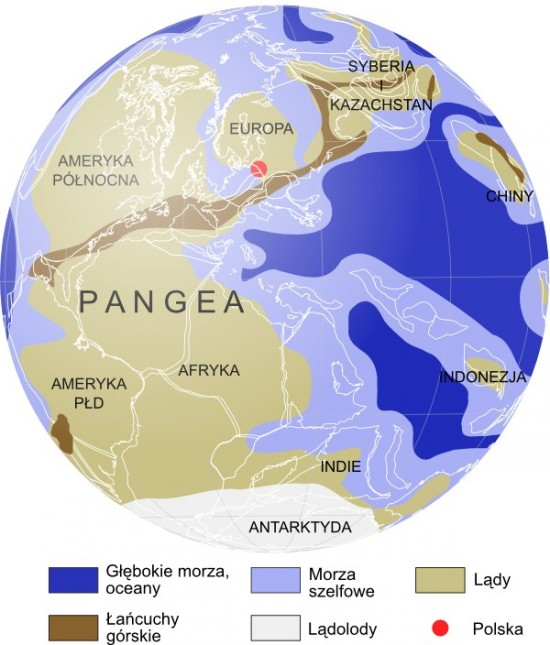 Mapa paleogeograficzna: perm, 260 mln lat temu.