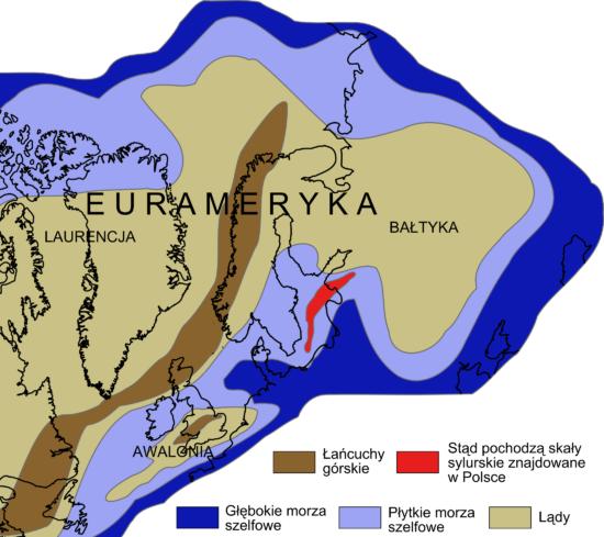 Mapa paleogeograficzna Europy i części Ameryki Północnej w schyłku syluru (około 420 milionów lat temu).