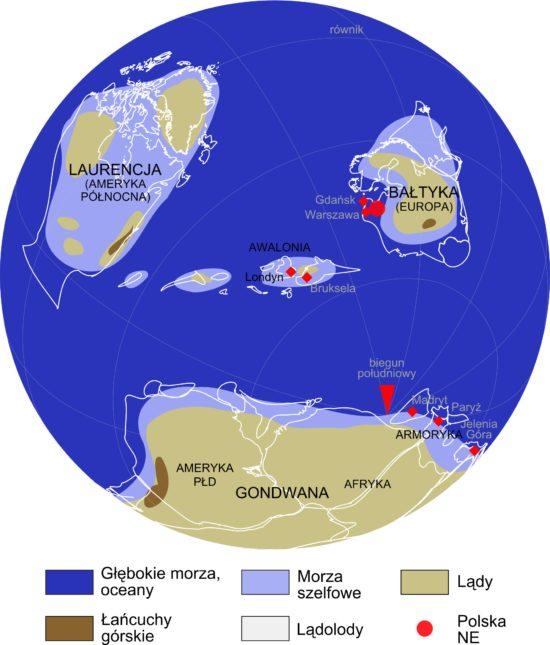 Mapa paleogeograficzna dla ordowiku - 465 milionów lat temu.