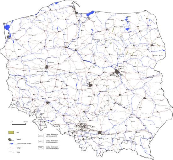 Ozy na terenie Polski - mapa.
