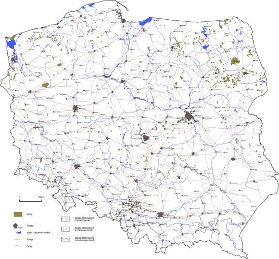 Kemy i terasy kemowe na terenie Polski - mapa.