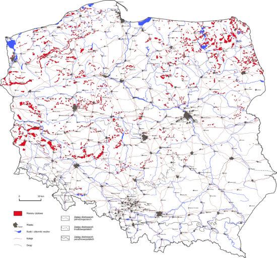 Moreny czołowe na terenie Polski - mapa.