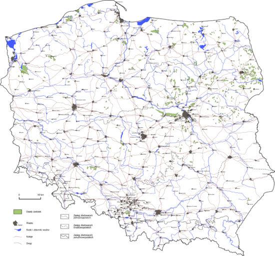 Osady zastoisk na terenie Polski - mapa.