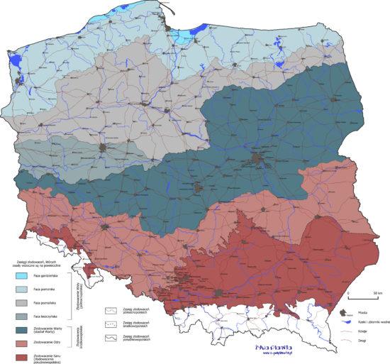 Mapa zasięgów zlodowaceń plejstoceńskich (skandynawskich) w Polsce.