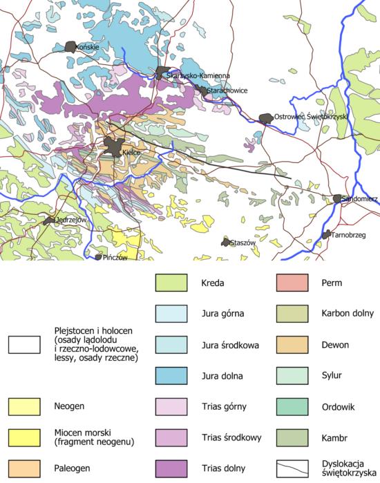 Uproszczona mapa geologiczna Gór Świętokrzyskich.