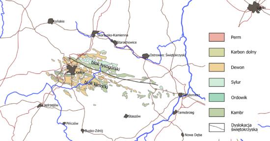 Uproszczona mapa geologiczna paleozoicznego trzonu Gór Świętokrzyskich.