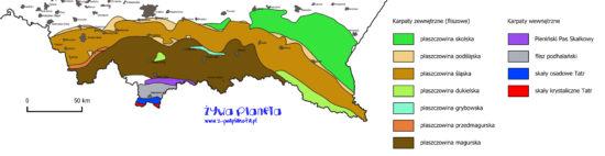 Mapa geologiczna polskich Karpat, pokazująca zasięgi płaszczowin (nasunięć).