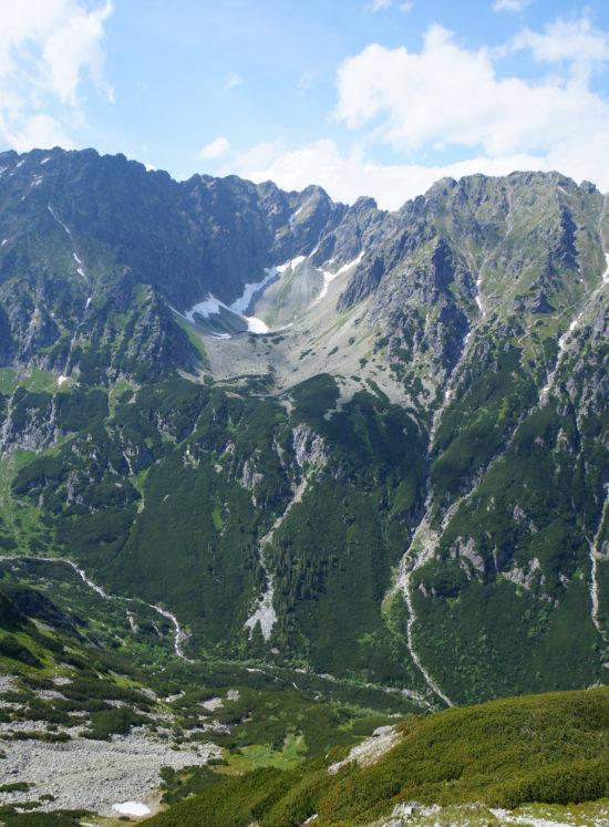 Dolinka Buczynowa zawieszona nad U-kształtną, polodowcową  Doliną Roztoki.