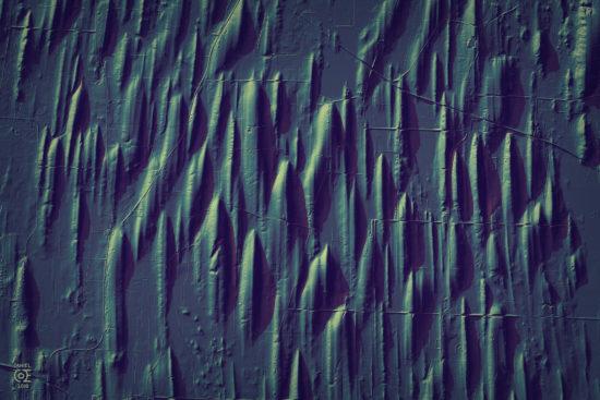 Wizualizacja pola drumlinowego w stanie Wisconsin, USA.