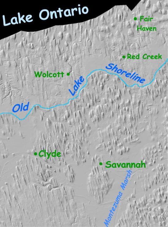 Mapa pola drumlinowego nad jeziorem Ontario (USA).